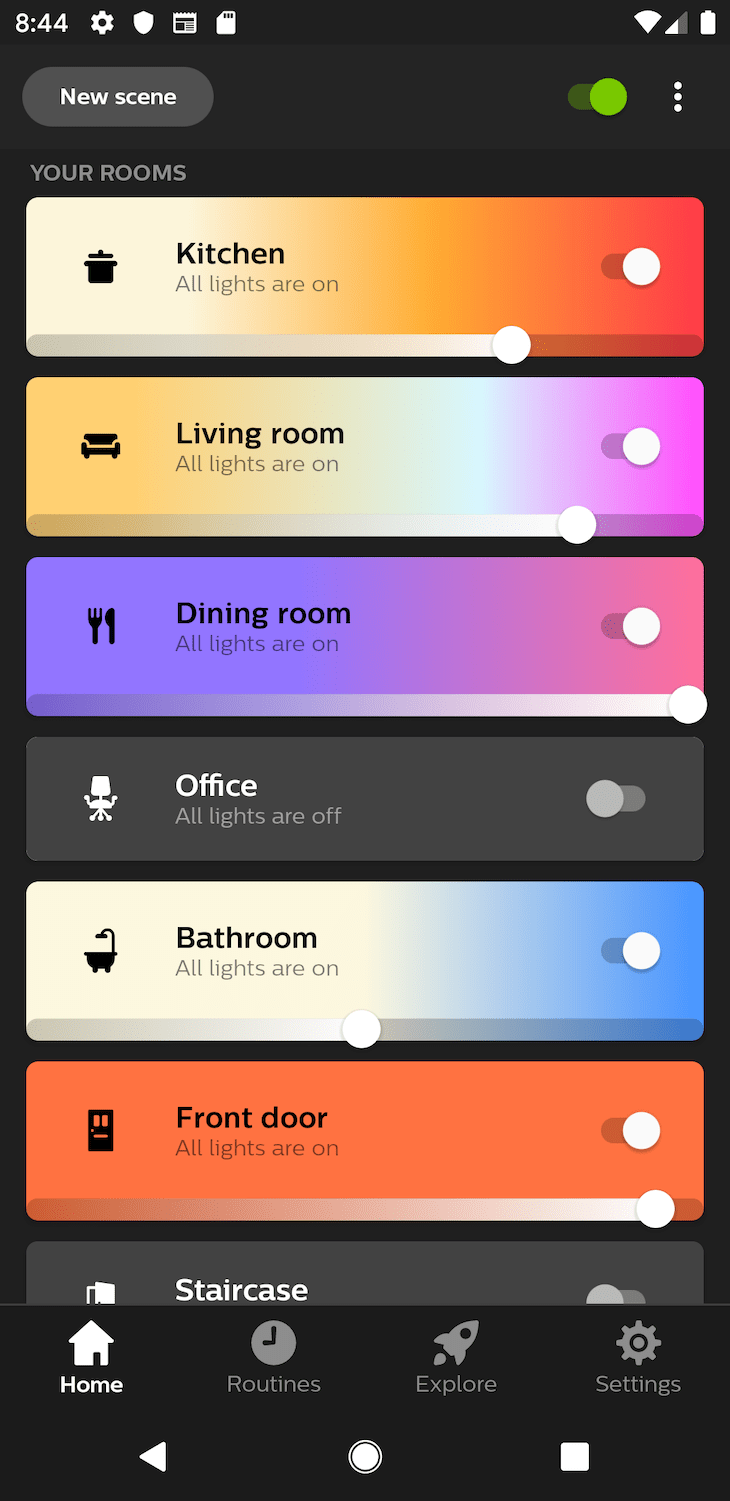 Philips Hue home screen design