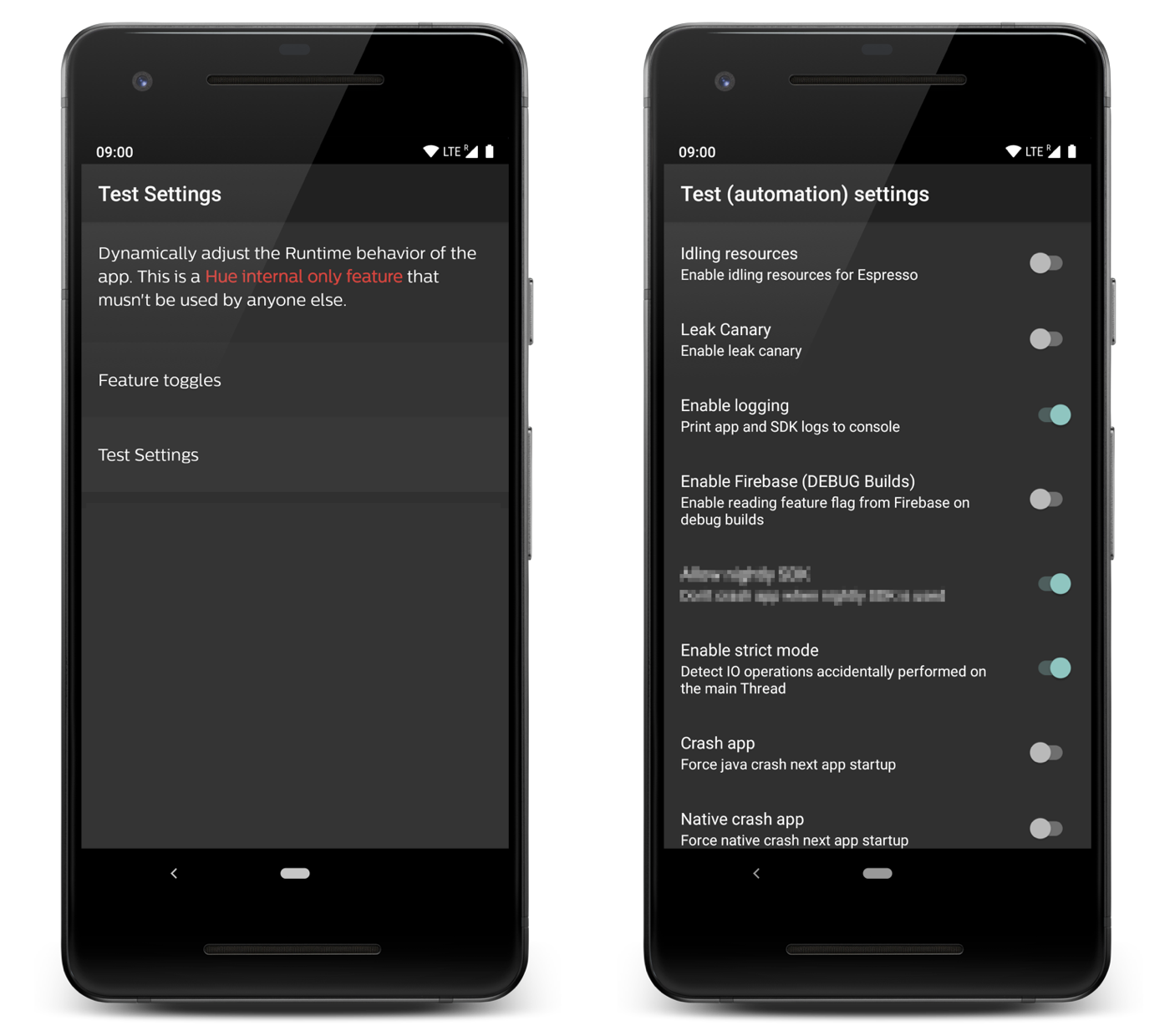 Test settings activity to dynamically configure behavior in the app