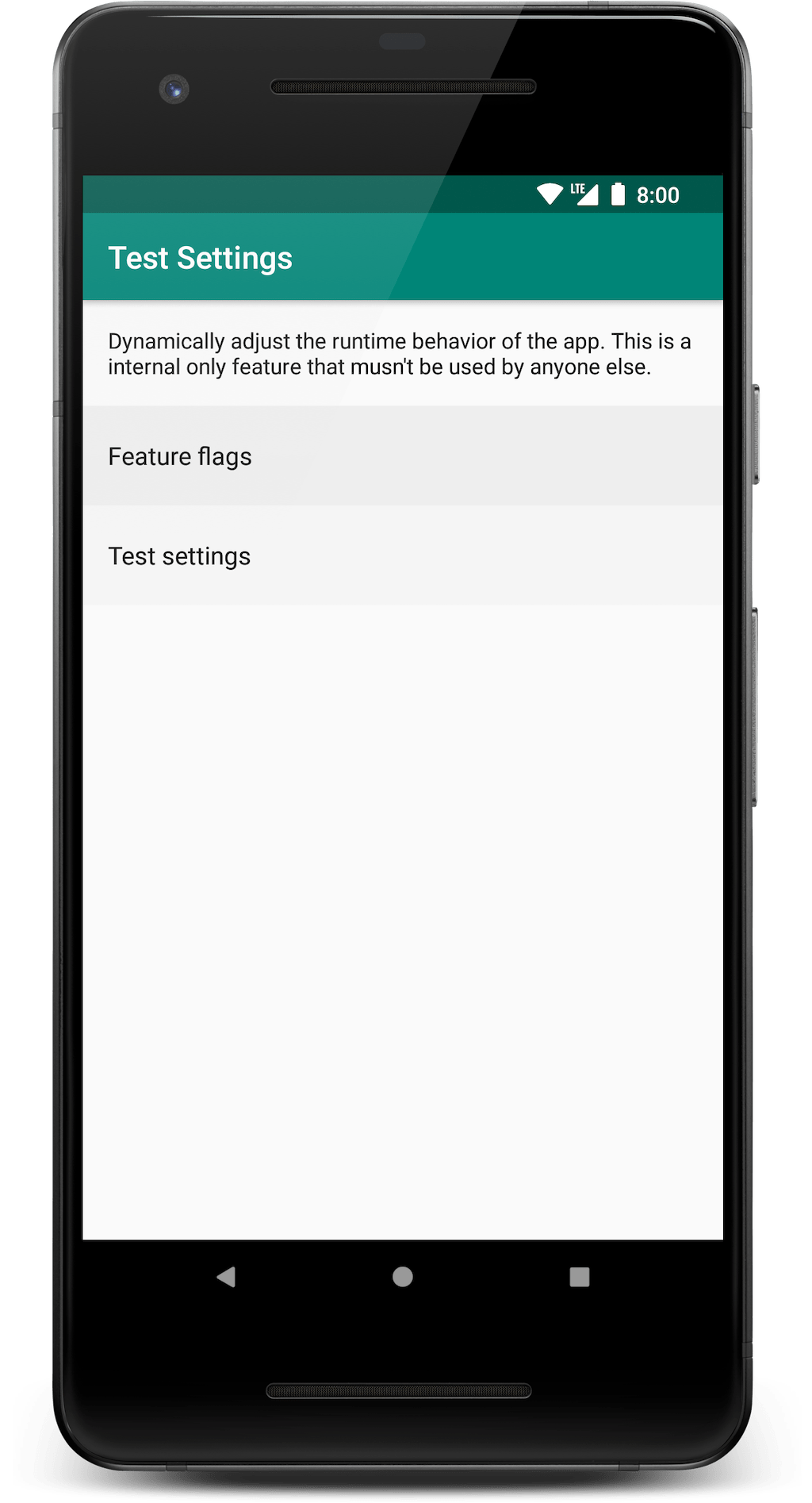 Feature flags allow to toggle features on or off, whereas test stettings allow to dynamically configure the behavior of the app