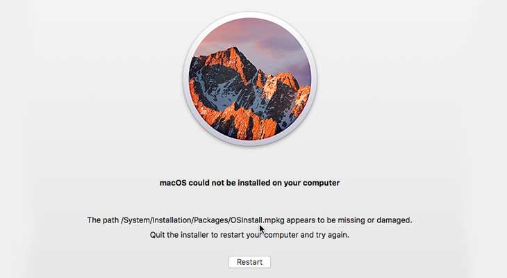 MacOS update could not be installed