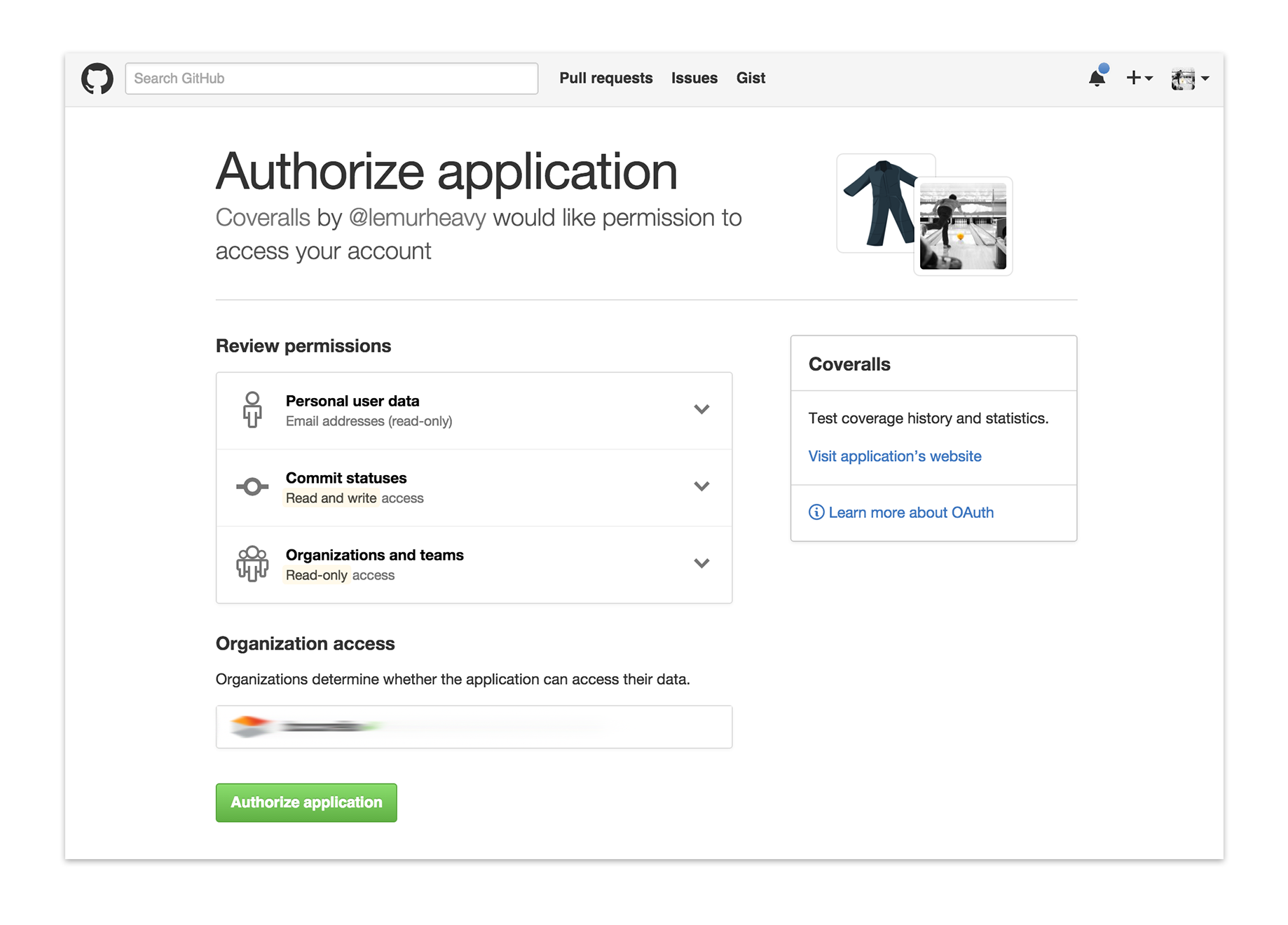 Allow Coveralls to access your GitHub projects