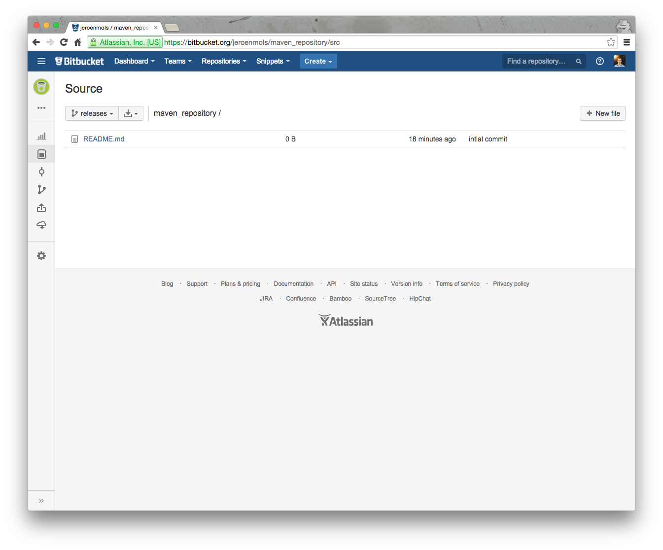BitBucket repository with main branch releases.