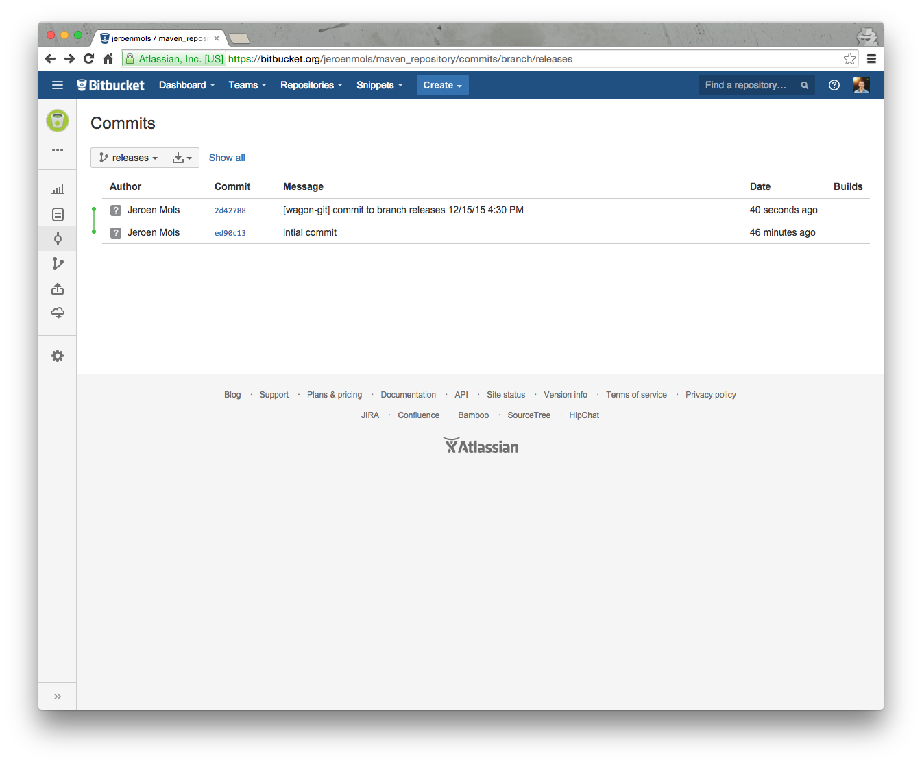 Release commit of a Maven upload to BitBucket.